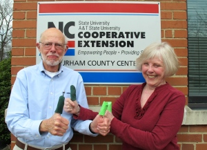 Durham Master Gardeners Charles Murphy and Lynne Nelson show off their green thumbs
